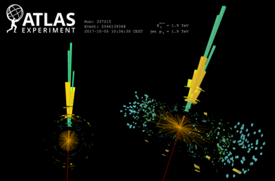 Image of a monojet event recorded by the ATLAS experiment in 2017, with a single jet of 1.9 TeV transverse momentum recoiling against corresponding missing transverse momentum (MET). The green and yellow bars show the energy deposits in the electromagnetic and hadronic calorimeters, respectively. The MET is shown as the red dashed line on the opposite side of the detector.