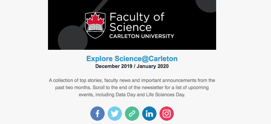 A screenshot of the Explore Science@Carleton newsletter