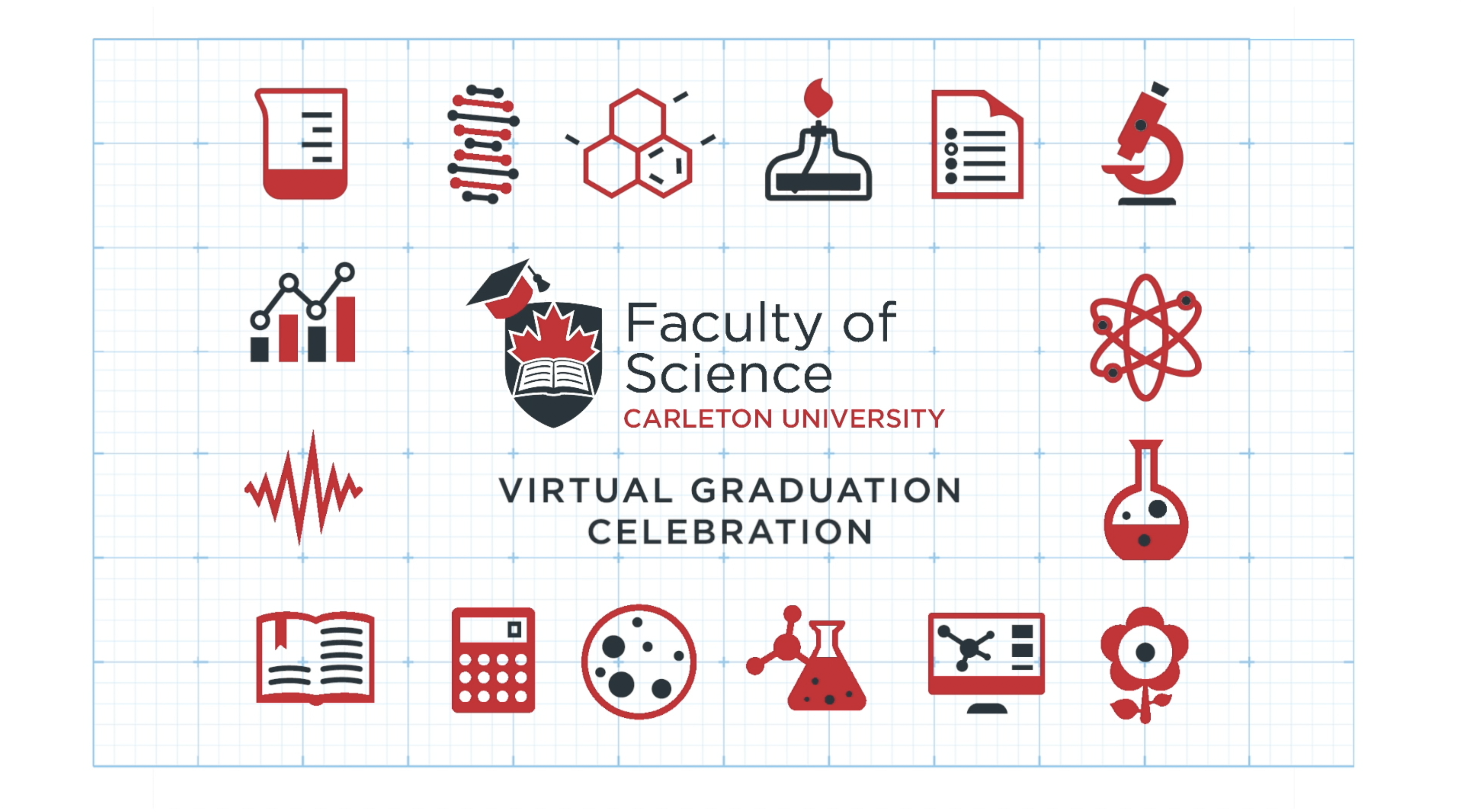 A graphic containing science icons promoting the Virtual graduation celebration