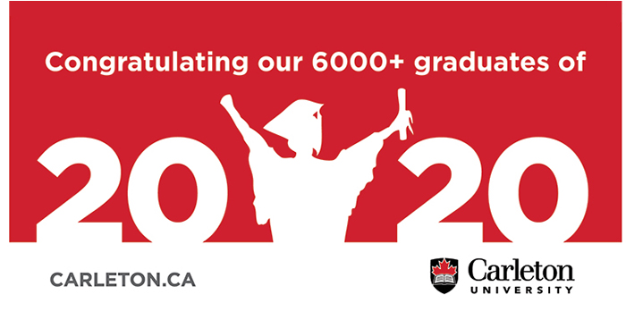 "A red banner with ""2020"" and a silhouette of a graduate"